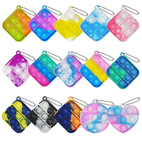 15 Pcs Mini Squeeze Pop Bubble Simple Fidget Sensory Toys, Mini Silicone Keychain Wrap Small Pop Bulk Toy Relieve Anxiety Stress Office Toy for Kids Adult Party Favors