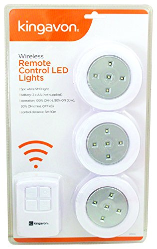 Kingavon Luces LED con control remoto inalámbrico, Blanco