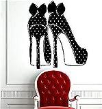 Adesivi da Parete Removibili Stickers Murali Decorazione Murale Sexy scarpe tacco alto con pois e fiocchi