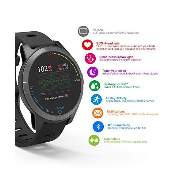 PRIXTON – Reloj Inteligente Smartwatch para Android e iOS con Electrocardiograma, Presión en Sangre, Pulsometro… 2