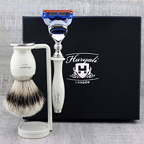 Haryali London Ivory 5 Edge Compatible Razor, Silver Tip Shaving Brush and Shaving Stand - Kit de rasage pour homme