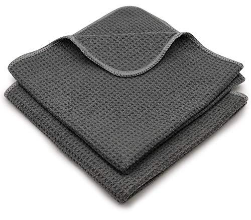 EliXito® Universal Trockentücher für Fenster, Glas, Küche & Auto UVM 60x40cm 2er Set mit Aufhänger- Premium Streifenfreie Waffeltücher Saugstark & Weich - Fusselfreie Mikrofasertücher