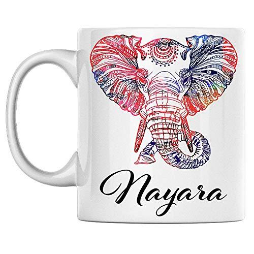 N\A aza de Elefante Personal con Nombre Nayara, Taza de café de cerámica Blanca Impresa en Ambos Lados, cumpleaños para él, Ella, niño, niña, Esposo, Esposa, Hombres y Mujeres