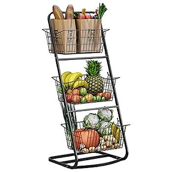 3 Tier Market Basket Stand,HOWDIA Fruit Baskets with Removable Baskets - Kitchen Organizer - Fruit Vegetable Produce Metal Hanging Storage Bin for Pantry Bathroom Kitchen  3 Tier Basket