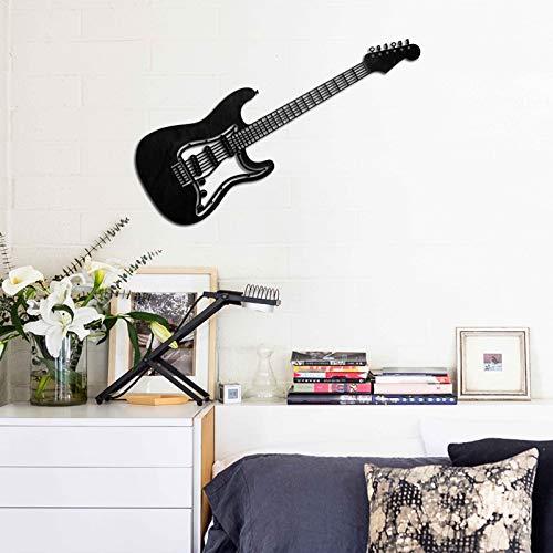 KESTEX XL Metall WANDBILD Gitarre Wall Art 25 x 76 cm SCHWARZ Wand DEKO Moderne Premium WANDDEKORATION WANDKUNST