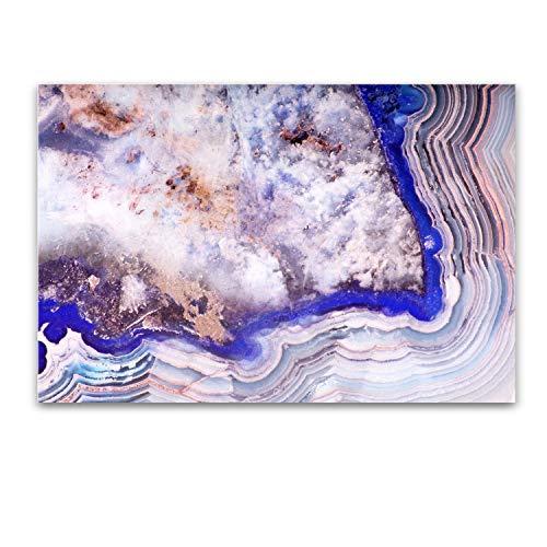 Cuadro sobre Vidrio - Capas Abstractas en Ágata Azul - Moderno Cuadro de Cristal Acrílico60 x 90 cm