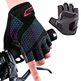 boildeg Guantes de Ciclismo de Bicicleta Guantes de Bicicleta de Carretera de Medio-Dedo para Hombres Mujeres Acolchado Antideslizante Transpirable (Black, L)