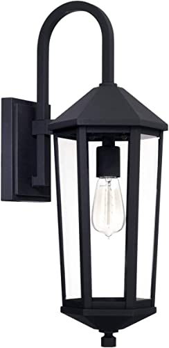 lowest Capital Lighting high quality 926911BK Ellsworth 23 Inch Outdoor Wall Lantern Approved for Wet Locations, high quality Black Finish with Clear Glass sale