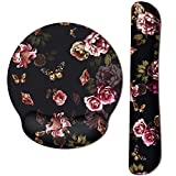 HAOCOO Ergonomic Keyboard Wrist Rest Pad and Mouse Wrist Rest Support, Wrist Rest Pad with Non-Slip Rubber Base & Memory Foam Support for Working Gaming Fatigue Pain Relief ((Flowers Butterflies))