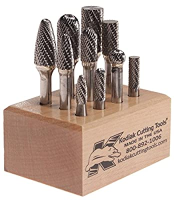"Kodiak Cutting Tools 4J-518Y-JQ3L USA Made Carbide Bur Set on 1/4"" Shanks, Assorted (Pack of 10)"