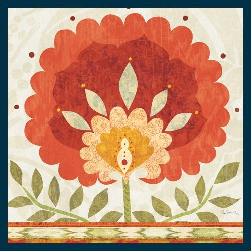 Bild mit Rahmen Sue Schlabach - Ikat Bloom II - Digitaldruck - Holz blau, 60 x 60cm - Premiumqualität - naive Malerei, Blumen, Wohnzimmer, Flur, Soziale Einrichtungen - MADE IN GERMANY - ART-GALERIE-SHOPde