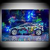 ZGZART Leinwand Gemälde Fords Rallye Auto Rennwagen Poster