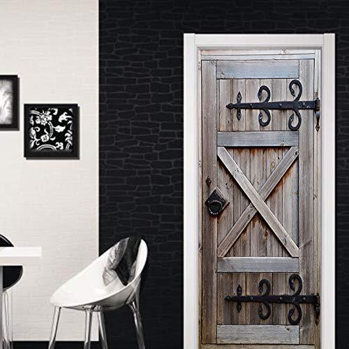 Tutoy 3D Retro Vieja Puerta Mural Pared Pegatina Vinilo Extraíble Calcomanía Papel Pintado Home Room Decor