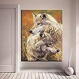 ganlanshu Pintura sin Marco Pintura decoración de Sala de Estar para Animales con Arte de Pared Digital Mano Lobo Pareja Pintura al óleo dibujosCGQ8404 50X62cm