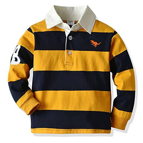 BrightyKid Toddler Baby Boys Striped Rugby Polo Shirt Long Sleeve Spring Fall Top 2 3 4 T