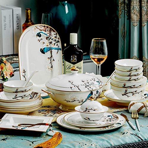 HomeNSYNSY FANMENGY Juego de vajilla de cerámica con plato de cena con 50 piezas, cuenco/olla/plato/cuchara   Juegos de vajilla de porcelana china, juego de combinación de porcelana con patrón