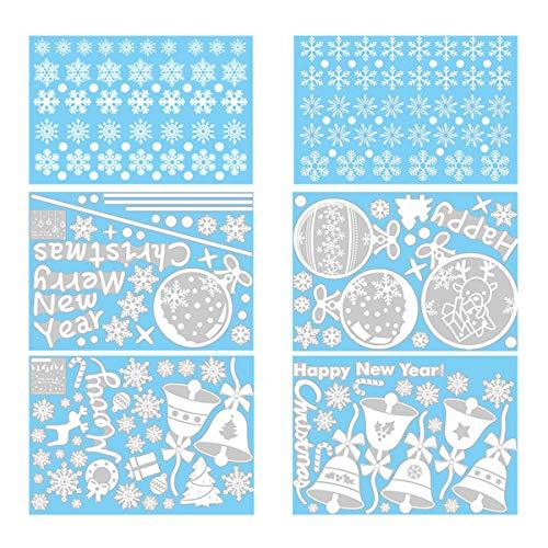 6 Pcs Sticker Noël pour Fenêtre Vitrine Vitre Mallalah Flocons de Neige Autocollants Amovibles Décoration Stickers Muraux Home Decor