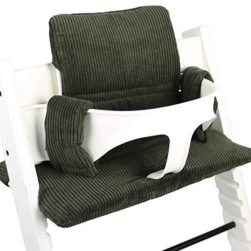 Sitzkissen Sitzverkleinerer Kissen von UKJE für Stokke Tripp Trapp Baby Set Rippstoff Schön und dick gepolstert Grün Maschinenwaschbar 2-teilig Öko-Tex Baumwolle