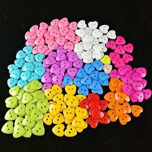 Marekyhm-es Botón de Costura de Resina en Forma de corazón con Forma de corazón 2 Agujeros niños Ropa Botones Ropa para niños DIY Botones de Costura Scrapbooking 15 / 18mm