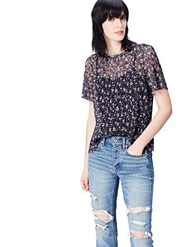 Amazon-Marke: find. Damen Halb-transparente Bluse mit Blumenmuster, Mehrfarbig (Multicoloured), 36, Label: S