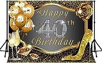 新しい第40誕生日おめでとう背景250×180 cm新しいビニールローズダイヤモンドキラキラ写真背景バナー写真撮影小道具288