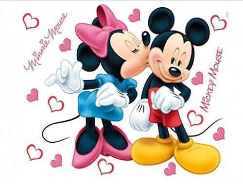 1art1 Walt Disney - Minni Und Micky, Verliebt Wand-Tattoo | Deko Wandaufkleber für Wohnzimmer Kinderzimmer Küche Bad Flur | Wandsticker für Tür Wand Möbel/Schrank 65 x 42 cm