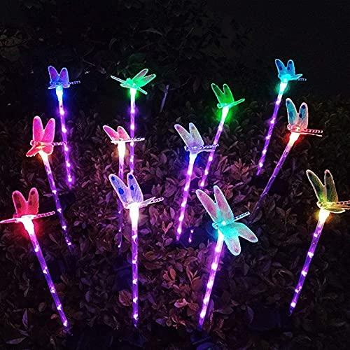 Solar Garden Light r Dragonfly Decoration LED Garden Lights Krajobrazowe oświetlenie ścieżki na ścieżkę, patio, podwórko (1 opakowanie 3 Dragonfly) SKYJIE