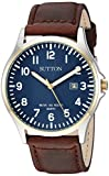 Sutton by Armitron Men's SU/5015NVBN Date Function Easy to Read Brown Leather Strap Watch