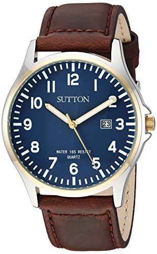 Sutton by Armitron SU/5015NVBN - Reloj de pulsera para hombre, función de fecha, fácil de leer, correa de piel, color marrón