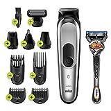Braun MGK7220 - Recortadora 10 en 1, Máquina recortadora de barba, set de depilación corporal y cortapelos para hombre, color gris plateado