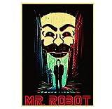 Hanyyj Póster Vinatge Rami Said Malek Película Clásica Mr.Robot Póster Retro Decoración De La Pared De La Habitación del Hogar Pintura Artística Impresa 50 × 70 Cm Sin Marco