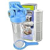 Wasserfilter 10' Anschluss 3/4' IG Gartenpumpen Vorfilter Nachfilter mit Filtereinsatz Hauswasserwerke Filter Schmutzfilter (3/4'- NET)