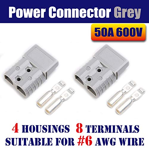 Mr.Brighton LED 50Amp Anderson Compatible 2 Pole Power Connector Plug Grey w/Terminals for #6 AWG Wire[4 housing+8 Terminal pins] -  50Agrey4pc6