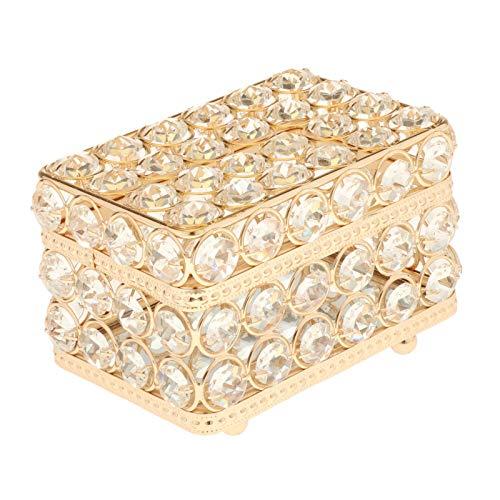 Nobranded Caja de joyería de Cristal, joyero Organizador, Pendientes, Caja del Tesoro, Almacenamiento, Superficie de Espejo de Recuerdo con Tapa para decoración