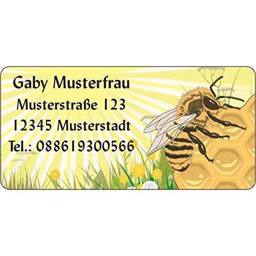 Adressaufkleber - Adressetiketten - Biene auf Honigwabe - 210 Stück 54 x 25 mm, 1-4 Zeilen beschriftbar