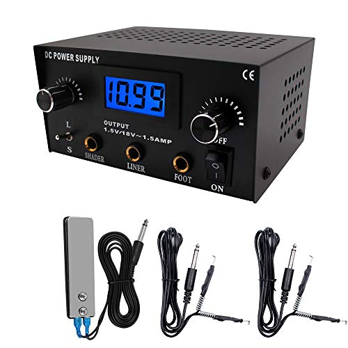 TATELF Tattoo Power Supply, Dual Digital Tattoo Power Supply Tool with Foot Pedal and 2 Clip Cords for Coil Tattoo Black