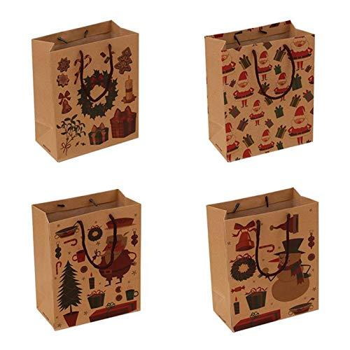 4 stuks Kerstmis Kraftpapier Gift Bags Portable Cartoon Handtas opbergzakje for kleding Wijn (Small Size) (willekeurig patroon)