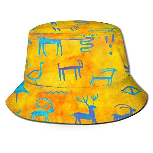 BNLUXUNY Primitive Rock Painting Fashion Fisherman's Hat Safari Cap with Sun Protection