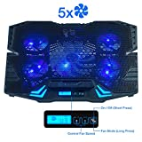 Rosewill Gaming Laptop Cooler Notebook Cooling Pad, 5 Silent Blue LED...