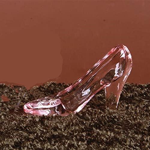 AKAMAS Zapatos de cristal de Cenicienta rosa claro con tacones altos de...