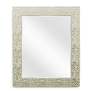 Wall Beveled Mirror Framed - Bedroom or Bathroom Rectangular Frame Hangs Horizontal and Vertical By EcoHome (27x33, Champagne)