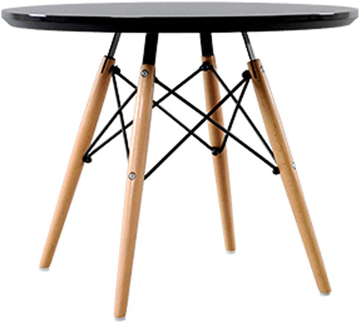 Nordic Solid Wood Coffee Table Simple Small Apartment Modern Mini Round Table Creative Furniture Sofa Side (color   Black)