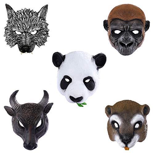 SJTL Halbe Gesichtsmaske Tiermaske PU-Schaumstoff Materialien Tragen Bequem Weich 3D Realistische Modellierung Erwachsen Unisex Halloween Cosplay Geschenk Einstellbare Größe,1