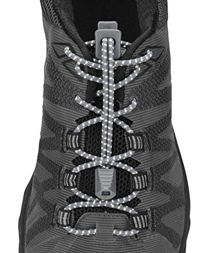 Nathan Reflektierende, elastische Schnürsenkel ohne Binden für Laufen und aktive Sportarten, Unisex-Erwachsene, NS1171, stahlgrau, Einheitsgröße