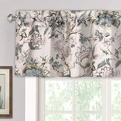 """H.VERSAILTEX Blackout Curtain Valances for Kitchen Windows / Living Room / Bathroom Privacy Protection Rod Pocket Decoration Winow Valance Curtains, 52"""" W x 18"""" L, Flroal in Sage and Brown"""