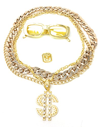 BABO Lude Macho Prolethen Hiphop Rapper Sets 4 bis 5 teilig Ketten Brille Ring (Schmale Brille-Dollarkette)