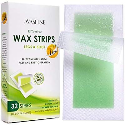 Avashine Wax Strips for Arms, Legs, Underarm Hair, Eyebrow, Bikini, and Brazilian Hair Removal Contains 32 Strips
