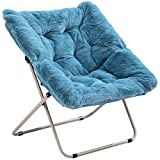AcozyHom Square Faux-Fur Moon Saucer Chair, Folding Lazy Chair with Plush Cushion and Metal Frame, Accent Soft Furry Lounge Chair, Leisure Padded Seat for Living Room, Balcony, Bedroom, Office, Blue