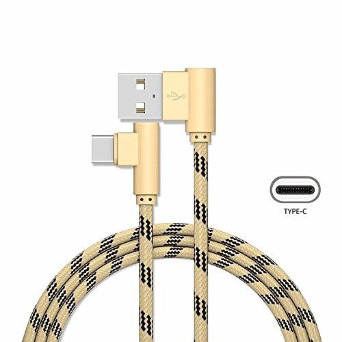 YANSHG 90 Grad Doppelwinkel USB Typ C Kabel, Nylon geflochten USB Typ C Ladekabel, für Samsung Galaxy S8 S8 Plus S9 S9+, LG V20 V30, OnePlus 3T/5/5T und mehr Typ C Geräte.