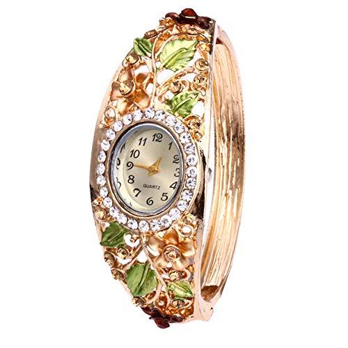 KingbeefLIU Uhr Damen Strass Blumen Armband Armreif Oval Zifferblatt Analog Quarz Armbanduhr Golden